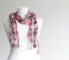 Lariat Scarf Women Crochet Scarf Floral Accessories