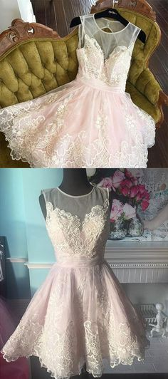 Cute lace short prom dress, lace homecoming dress – trendty
