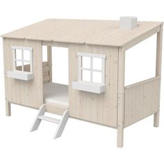 Reduced bed frames & bed frames - Flexa bed frame Flexa Classic House ¦ white ¦ Dimensions (cm): W: H: 154 children& fu - Mattress On Floor, One Bed, Scandinavian Furniture, House Beds, White Bedding, Bedding Sets, Classic House, Kid Beds, Little Houses