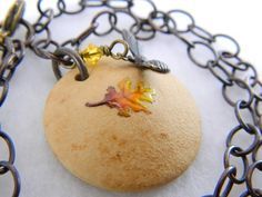 Handmade leaf bead necklace with bee, antiqued bronze, OOAK necklace   Lundela - Jewelry on ArtFire