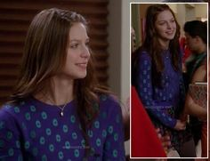Marley's purple and blue polka dot sweater on Glee.  Outfit details: http://wornontv.net/13381/