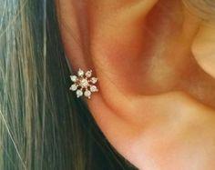 Mini CZ flor cartílago pendiente delicada por ShopOrigamiJewels