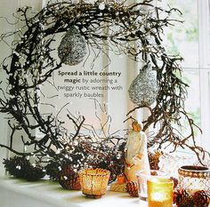 Rustic Twig Wreath with Sparkly Baubles