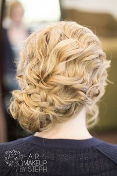 Braided side updo.