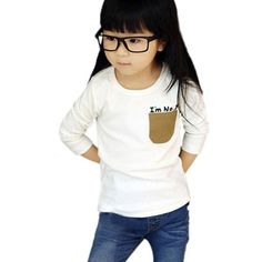 Kids long sleeve tee for girls and boys (says I'm no 1 above pocket) $4.56 from Aliexpress