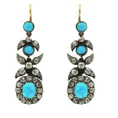Antique turquoise and diamond earrings. Crafted in gold and silver. Featuring cabochon turquoise and antique cut diamonds. Silver Pendant Necklace, Pendant Earrings, Sterling Silver Pendants, Diamond Earrings, Antique Earrings, Antique Jewelry, Jewellery Display, Colored Diamonds, Jewelry Collection