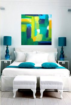 ORIGINAL Blue and Green Abstract Acrylic Painting by orabirenbaum, $245.00