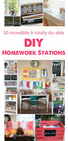 Lots of ideas on how to set up a homework station in your home