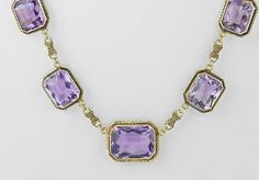 Beautiful-ANTIQUE-c1915-14K-Yellow-Gold-40-00-ct-AMETHYST-FILIGREE-NECKLACE