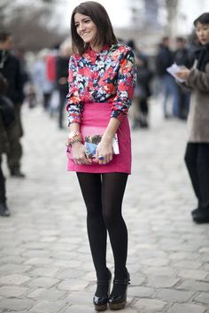 temper the floral & brights trend with black tights
