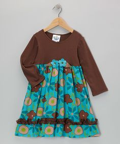 Brown & Turquoise Garden Babydoll Dress - Infant, Toddler & Girls | Daily deals for moms, babies and kids