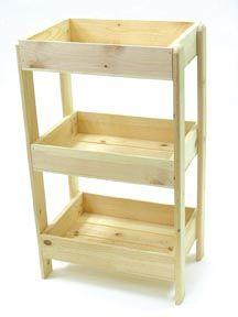 3 Tier Wood Display, Wooden Floor Display, Produce Stand