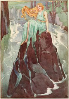 Lorelei, illustration by Helen Stratton, from _A Book of Myths_, 1915.