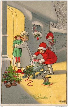 Pauli Ebner (Austrian -Vintage Christmas Postcard(¯`' Vintage Christmas Images, Old Christmas, Christmas Scenes, Victorian Christmas, Retro Christmas, Vintage Holiday, Christmas Pictures, Christmas Greetings, Christmas And New Year
