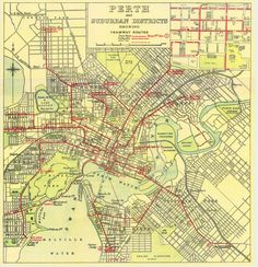 Historical Map: Perth and Suburban Districts Showing Tramway Routes (1930s-1940s?)