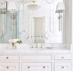 Master Bathroom with Mirror on Top of Mirror, Transitional, Bathroom Home Interior, Bathroom Interior, Interior Design, Bathroom Ideas, Bathroom Inspo, Bathroom Inspiration, White Bathroom, Master Bathroom, Bathroom Mirror Wall