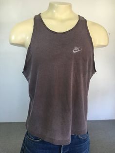 b708c4302 NIKE Tank Top 90s Vintage Shirt  Muscle Cotton Burnout Black SWEET Fading!  Sewn SWOOSH Top  Beach Hipster Sports UsA Made Men s Large