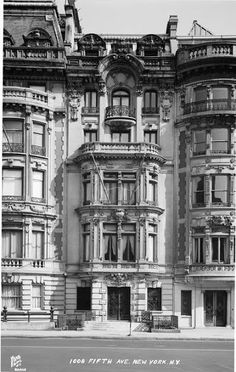 William A. Hall mansion 1901, 1008 5th Avenue built for Director of the Publishers' Paper Co.  Beaux Arts style. Designed by Alexander Welch of Welch, Smith and Provot.