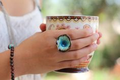 Boho jewelry One of a kind turquoise and brown ceramic ring Aqua ring - Ceramic jewelry by BohoChicChic on Etsy Ceramic Jewelry, Ceramic Beads, Clay Jewelry, Boho Jewelry, Handmade Jewelry, Jewelry Design, Designer Jewelry, Jewellery, Ceramic Flowers