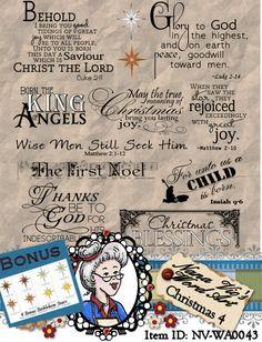 Christmas 4  Word Art Clipart Sentiments by NanaVicsDigitals