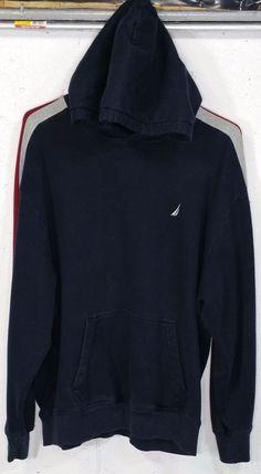 Nautica Mens Navy Blue Pocket Long Sleeve Hoodie Hooded Sweatshirt XL #Nautica…