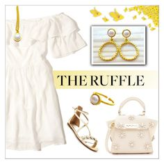 """Ruffled Mini Dress-White Gold-Evangelos Jewellery"" by evanangel ❤ liked on Polyvore featuring Hollister Co., ZAC Zac Posen, Nine West and Barneys New York"