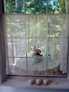 Lace Curtains, Cream Lacy Arc Curtain Treatment, Two Panels, Window Treatment, Shabby Chic, French Country, by mailordervintage Cream Curtains, Lace Curtains, Hanging Curtains, Romantic Home Decor, Romantic Homes, Shabby Cottage, Shabby Chic, Vintage Nursery Decor, Oval Picture Frames