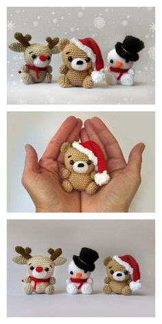 Amigurumi Small Snowman Free Pattern - Free Amigurumi Instructions and Instructions . - Amigurumi Small Snowman Free Pattern – Free Amigurumi Instructions and Instructions – Knitting - Cute Crochet, Crochet Crafts, Crochet Dolls, Crochet Bear, Diy Crafts, Amigurumi Patterns, Amigurumi Doll, Knitting Patterns, Christmas Crochet Patterns