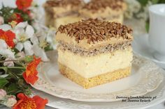 sernik papieski z kajmakiem i słonecznikiem Baking Recipes, Cake Recipes, Food Cakes, Homemade Cakes, Cheesecakes, Vanilla Cake, Deserts, Food And Drink, Sweets