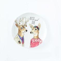 Dapper Animal Salad Plate - Buck and Doe
