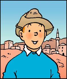 1957 ☀ Souvenir de Wadesdah • Tintin in Wadesdah Dessin réalisé pour les pages de garde des albums de Tintin. #tintin #herge