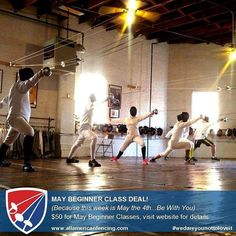 Celebrate Star Wars Day (May the 4th Be With You) with a Beginner Fencing Class! All May Beginner Fencing Classes are discounted to $50 per student. We all love to play swords we love lightsabers then try fencing! (We'll even let you make the woosh woosh sounds if you want to.) Beginner classes last the whole month (4 classes total). All equipment is provided. Class Schedule: Ages 7-10: Starting on Wednesday March 4 2016 at 6PM Ages 11-13: Starting on Tuesaday March 3 2016 at 6PM Ages…