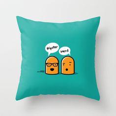 Hipster Nerd Throw Pillow by Kioshi Shimabuku - $20.00