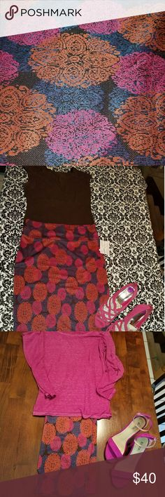 BNWT Lularoe Cassie pencil skirt I LOVE this skirt! Brown, orange, dark pink and blue. Endless possibilities! I had this skirt paired with everything from a fleece tunic and leggings to a super dressy blouse. Some of the items from styling ideas in separate listings. If you see something you want just let me know! LuLaRoe Skirts Pencil