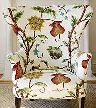 wide back chair-large print fabric
