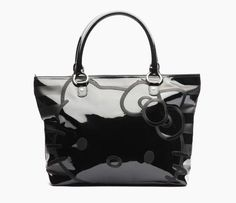 Hello Kitty Shoulder Tote Bag: Black Stripe