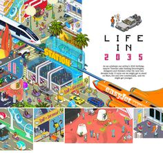Life in 2035 (illustrations for EasyJet http://www.easyjet.com/) pixelart