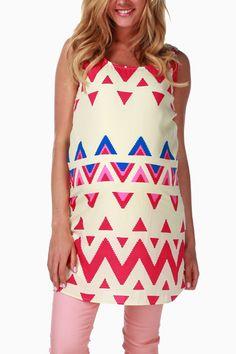 Pink-Cream-Printed-Maternity-Tank-Dress