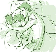 Bedtime stories! (Artwork credit to uponagraydawn on tumblr.)