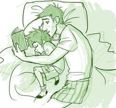 Bedtime stories! (Artwork credit to uponagraydawn on tumblr.)