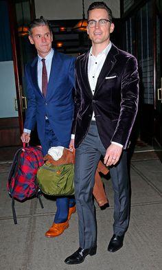 Matt Bomer and Simon Halls leave the Greenwich Hotel in New York on Sunday night.
