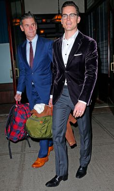 Matt Bomer and Simon Halls leave the Greenwich Hotel in New York on Sunday night.