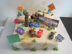 "Cake #1-Radiator Springs-for Emilia's ""Cars"" themed 2nd birthday party."