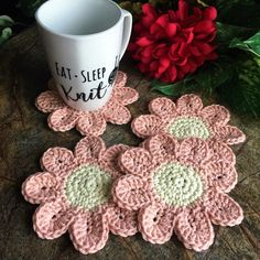 Coaster Set Drink Coasters Coasters Coffee Home Decor Crochet Cup Cozy, Crochet Home, Crochet Crafts, Crochet Projects, Tea Party Setting, Soap On A Rope, Drink Coasters, Handmade Crafts, Handmade Items