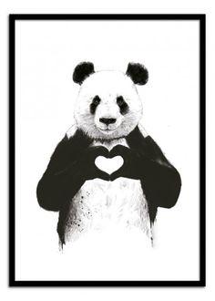 Art-Poster Wall Editions : All you need is love, by Balazs Solti. Format : 50 x 70 cm. #animal #panda #cute #illustration #poster #print #art #walleditions