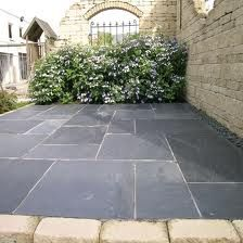 This Pavestone Natural Slate Paving In Midnight Has A Dark Blue Grey Colour And Suits Both Traditional Contemporary Garden Design Styles