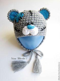 """Купить Шапка """"Тедди"""", связана крючком. - серый, для новорожденного, шапка детская, шапочка с ушками"""