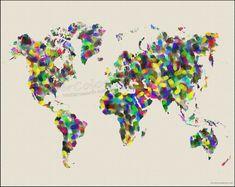 FINGERPRINT Map of the World Watercolor Map Art by WaterColorMaps, $22.50