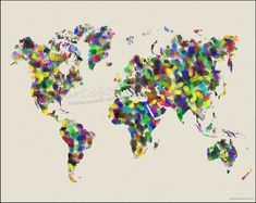 FINGERPRINT Map of the World Watercolor Map Art by WaterColorMaps, $22.50