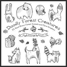 Cute Hand-Drawn Digital Forest Creatures Clipart, Doodly Forest Animals, Hand drawn clipart, raccoon, fox, bear, Instant Download, Printable